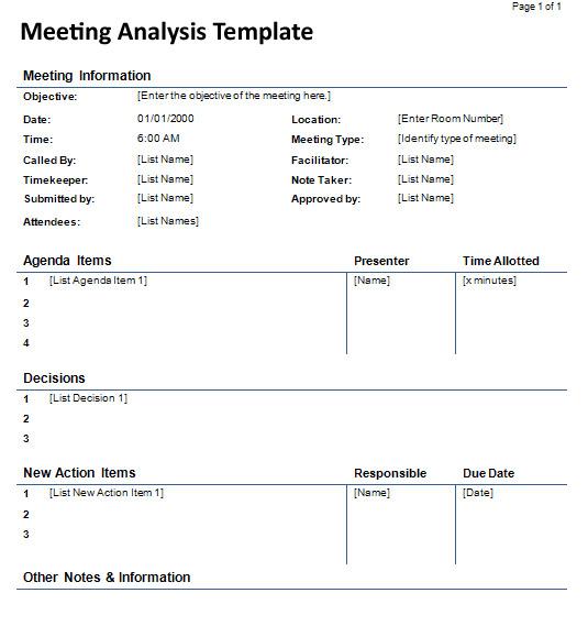 Meeting Analysis Template