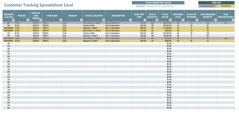 Customer Tracking Spreadsheet Excel