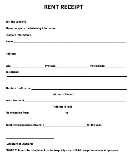 5+ Printable Excel Rental Receipt Template
