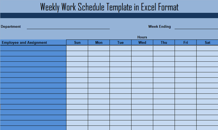 Project Weekly Schedule Using Template
