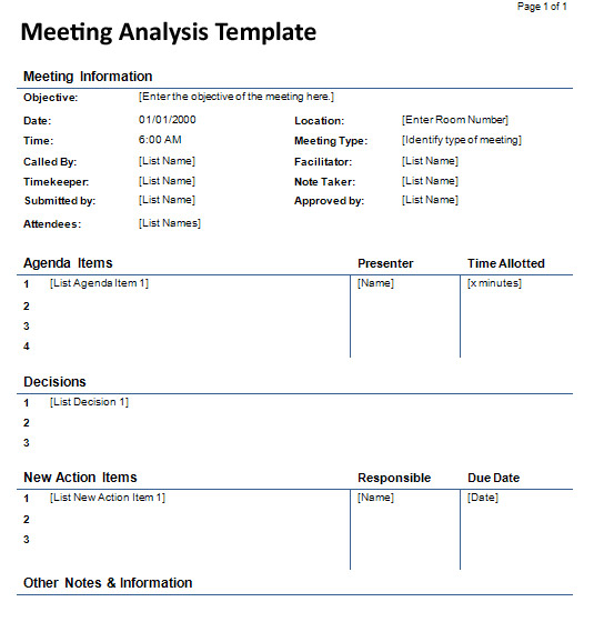 Meeting Analysis Template