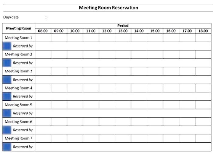 Meeting Room Scheduling Template Excel Excel Templates