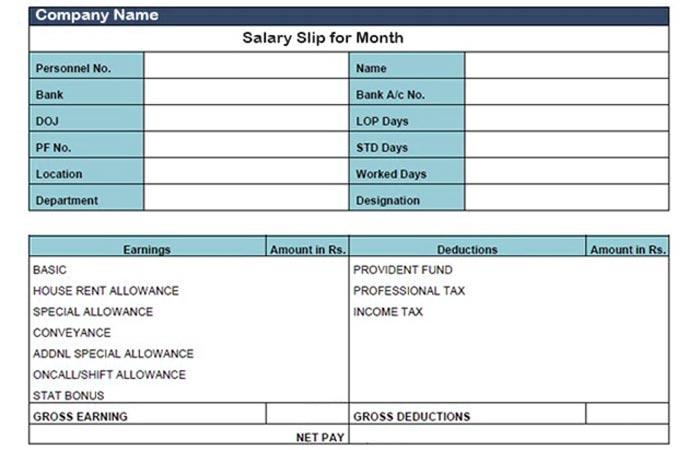 Sample Salary Slip Format in Excel Word Template - Excel ...