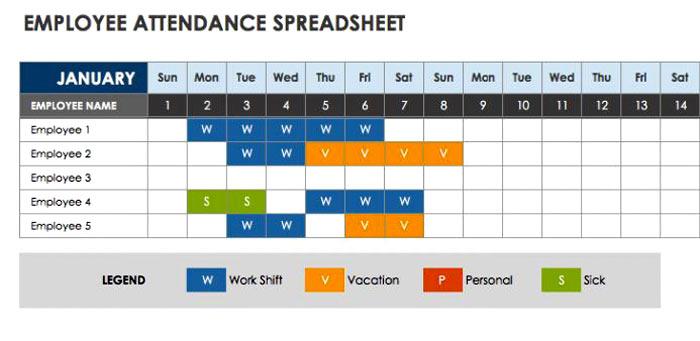 attendance template