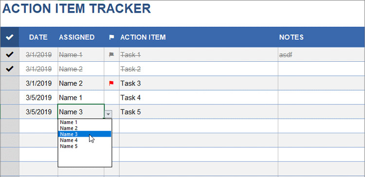Simple Action Item Tracker